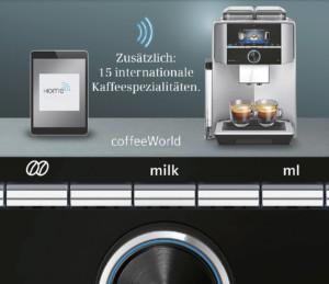 Vernetztes Premium-Standgerät mit zwei Bohnenbehältern und zwei Mahlwerken sowie der Möglichkeit, die Kaffeestärke, -menge, -temperatur, das Kaffee-Milch-Verhältnis und die Brühgeschwindigkeit individuell abzustufen. (Foto: AMK)