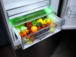 Damit die Vitamine A und C länger erhalten bleiben, imitiert dieses Kältemodell den natürlichen Lichtzyklus des Tages mithilfe einer dreifarbigen Beleuchtung (Grün, Blau und Rot) und danach eine Nachtphase. (Foto: AMK)