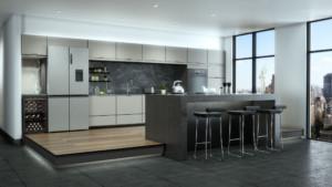 Auch freistehende Geräte lassen sich in eine Küchenzeile einplanen wie dieser Multidoor, u. a. ausgestattet mit einem Kühlfach, dessen Temperatur je nach Inhalt flexibel zwischen -3 und +5 °C eingestellt werden kann. (Foto: AMK)